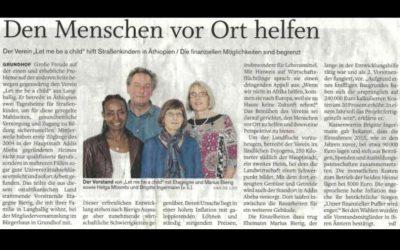 """Zeitungsartikel """"Den Menschen vor Ort helfen"""""""