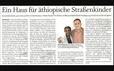 """Zeitungsartikel """"Ein Haus für äthiopische Straßenkinder"""""""