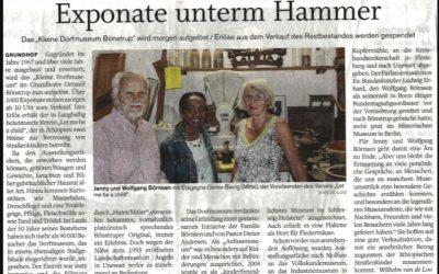 """Zeitungsartikel """"Exponate unterm Hammer"""""""