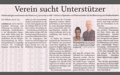 """Zeitungsartikel """"Verein sucht Unterstützer"""""""